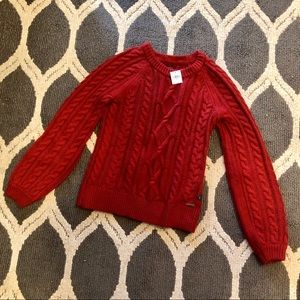 Red Cable Knit Sweater - Abercrombie